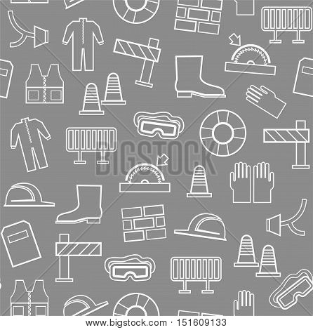 Occupational safety, seamless pattern, gray, white outline.  Vector, contour drawings of workwear and safety items on a gray background.