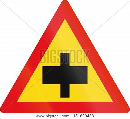 Temporary Road Sign Used In The African Country Of Botswana - Crossroad Without Priority