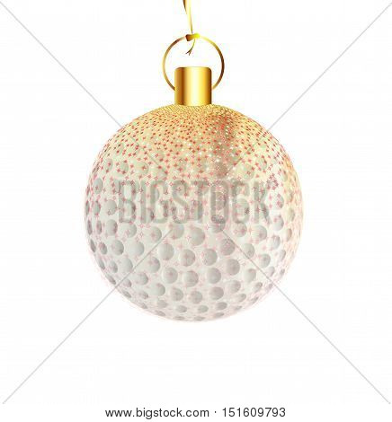 A gold and spakly Christmas tree golfball decoration