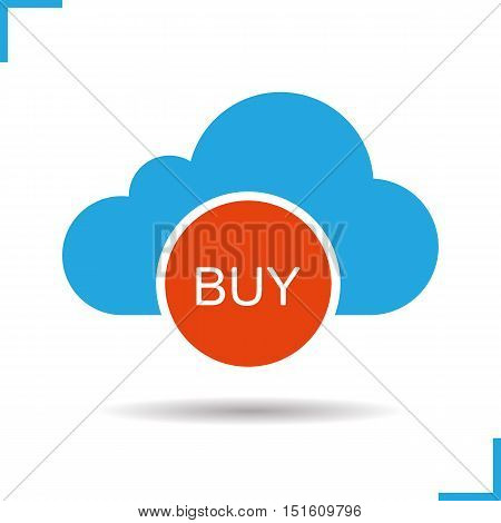 Buy cloud storage icon. Drop shadow silhouette symbol. Cloud computing. Web storage purchase. Negative space. Vector isolated illustration