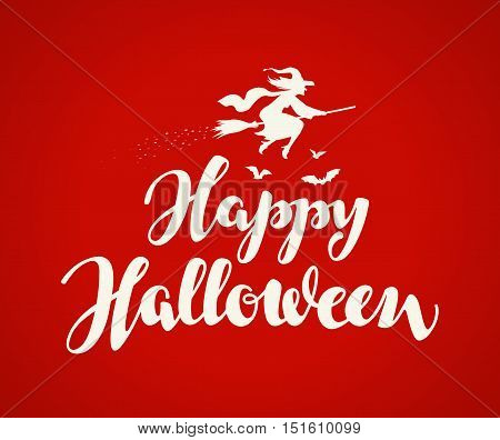 Happy Halloween. Holiday message beautiful writing on red background