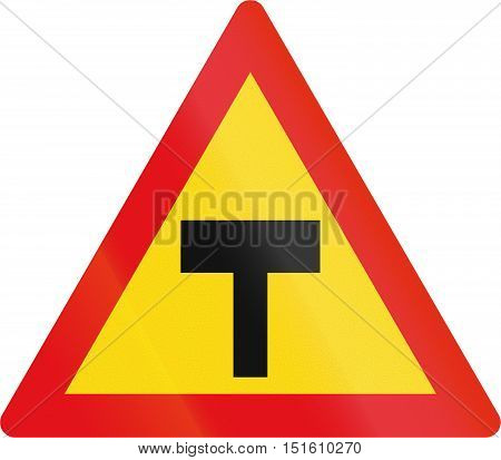 Temporary Road Sign Used In The African Country Of Botswana - T-junction
