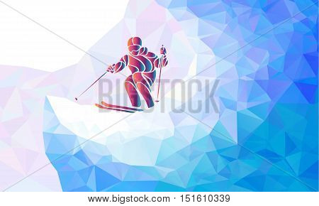 Ski downhill. Creative silhouette of the skier. Mogul Ski Racer. Vector illustration
