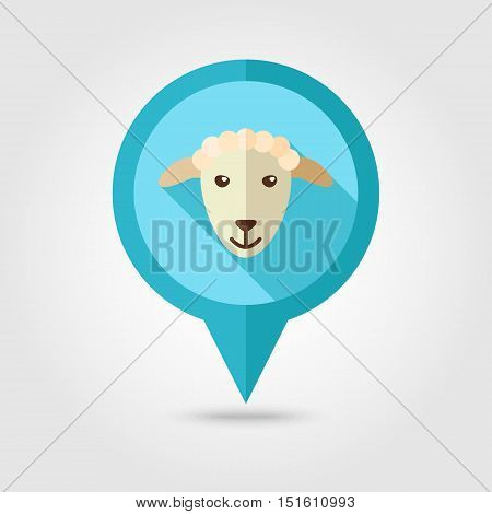Sheep flat pin map icon. Map pointer. Map markers. Animal head vector illustration eps 10
