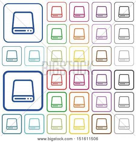 Set of hard disk drive flat rounded square framed color icons on white background. Thin and thick versions included.
