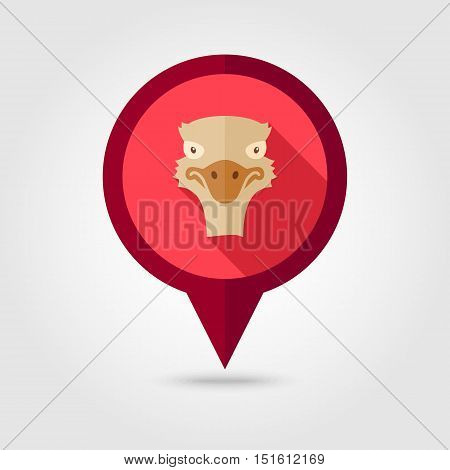 Ostrich flat pin map icon. Map pointer. Map markers. Animal head vector symbol eps 10