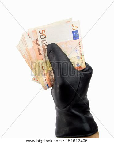 stealing thief with black gloves euro with white background