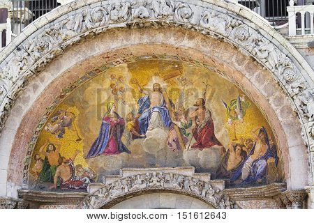 Architectural fragment of Patriarchal Cathedral Basilica of Saint Mark (828 1094). Piazza San Marco Venice Italy.