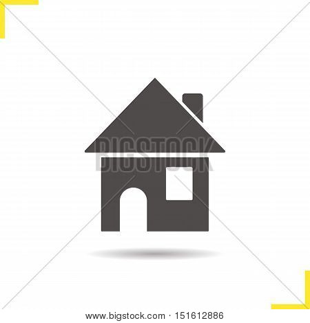 House icon. Drop shadow silhouette symbol. Home. Cottage building. Negative space. Vector isolated illustration