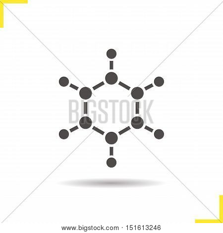 Molecule icon. Drop shadow silhouette symbol. Molecular structure model. Vector isolated illustration