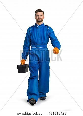 Professional service man with toolbox on white background