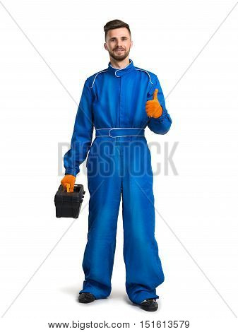 Isolated portrait of a workman with blue coveralls on white background