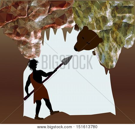 Silhouette of caveman fighting with a bear. Man with spear in a cave of crystals and stalactites. Fight with a cave bear
