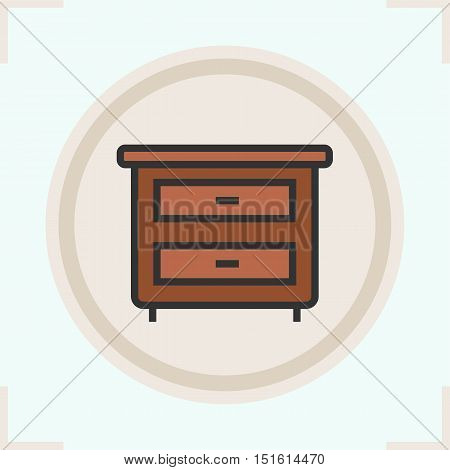 Nightstand color icon. Bedside table with drawers. Isolated vector illustration