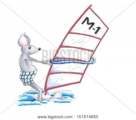 Mouse is wind surfing on a board