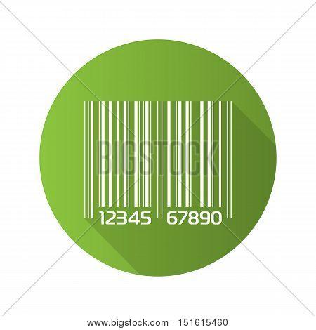 Barcode flat design long shadow icon. Green bar code vector symbol