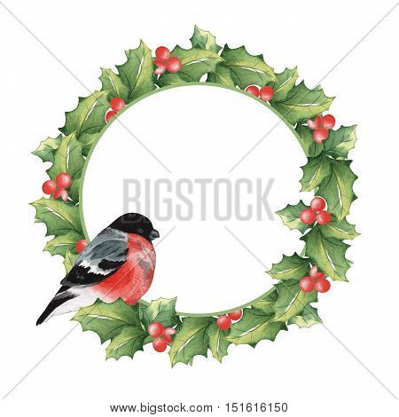 Christmas wreath of mistletoe and a bullfinch. Watercolor painting. Handmade drawing.