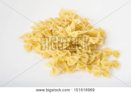 italian Farfalle pasta isolated on white background