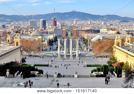 BARCELONA - DECEMBER 20: Square of Spain in downtown of Barcelona on December 20 2014. Barcelona is major city and capital of Catalonia.