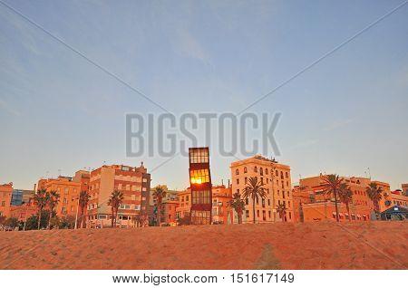 BARCELONA - DECEMBER 25: View of Barceloneta district of Barcelona city on December 25 2014. Barcelona is the secord largest city of Spain.