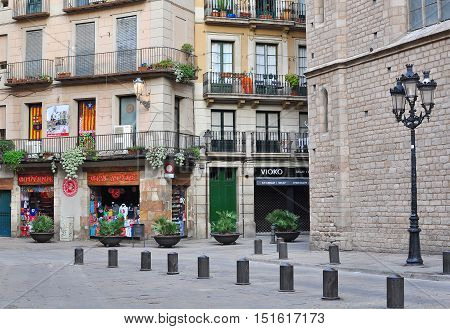 BARCELONA - DECEMBER 26: View of the street in Born quarter Barcelona on December 26 2014. Barcelona is the secord largest city of Spain.