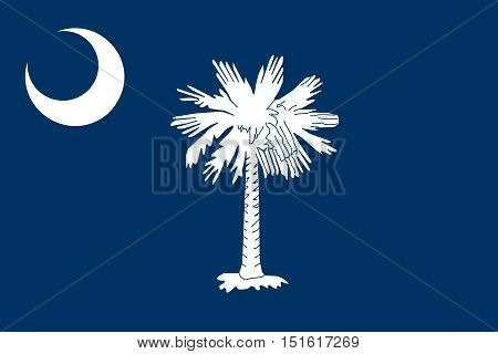 South Carolinian official flag symbol. American patriotic element. USA banner. United States of America background. Flag of the US state of South Carolina in correct size colors vector illustration