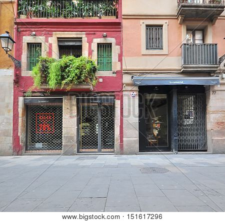 BARCELONA - JANUARY 25: View of the shopping street of Barcelona on January 25 2015.