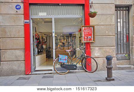 BARCELONA - JANUARY 31: Bike parked in the shopping street of Barcelona city on January 31 2015.