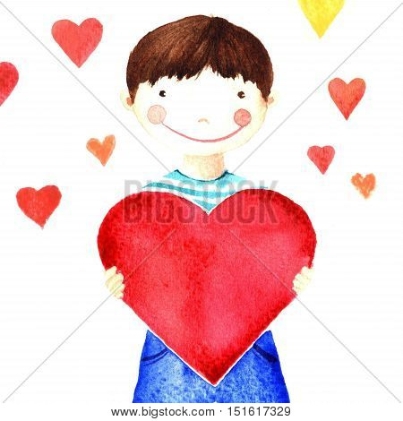 Little cute smiling boy holding a big red heart in his hands. Charity. Isolated watercolor drawing on a white background. Greeting card declaration of love banner print poster sticker.
