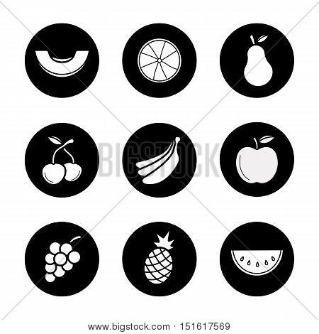 Fruit icons set. Melon slice, orange half, pear, cherries, bananas bundle, apple, grapes bunch, pineapple and watermelon. Vector white illustrations in black circles