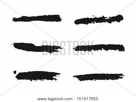 Set of grunge line. Ragged brush. Collection of isolated elements.