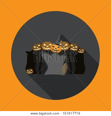 Vector isolated icon of witch gathering on Halloween with shadow.