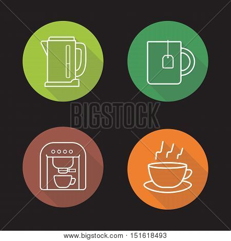 Tea and coffee flat linear long shadow icons set. Electric kettle, coffee machine and steaming cup on plate with teabag symbols. Outline logo concepts. Vector line art illustrations