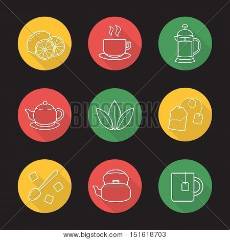 Tea flat linear long shadow icons set. Cutted lemon, steaming cup on plate, brewer, teapot, loose tea leaves, teabag, refined sugar cubes with spoon, kettle, mug. Vector line symbols