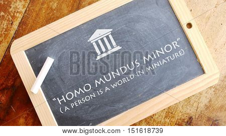 Homo mundus minor. A Latin phrase by Anicius Manlius Severinus Boethius that means a person is a world in miniature.