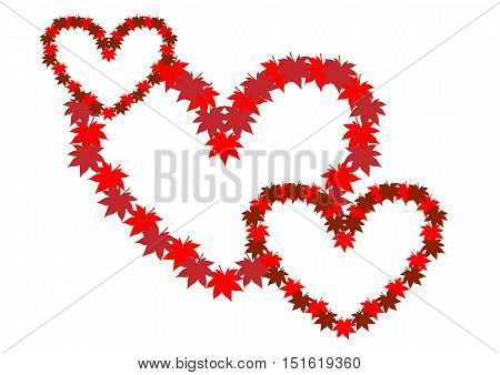 Three intertwined hearts. Symbol of love. Heart from autumn leaves