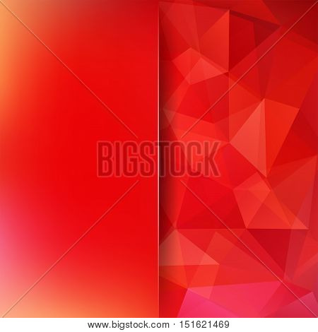 Geometric Pattern, Polygon Triangles Vector Background In Red Tones. Blur Background With Glass. Ill