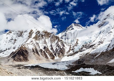 Himalaya Beautiful Mountain Peaks Inspirational Autumn Landscape and Khumbu Glacier on the way to Everest Base Camp in Everest National Park Nepal. Global Warming Concept with Melting Glacier.