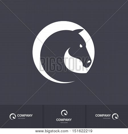 Stylized Horse Head in Circle for Logo Template