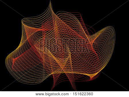 Grid of distorted dynamic lines. Repeatable. Curved lines geometric mesh. abstract on black