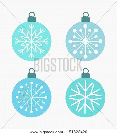 Winter snowflake blue Christmas baubles. Vector illustration