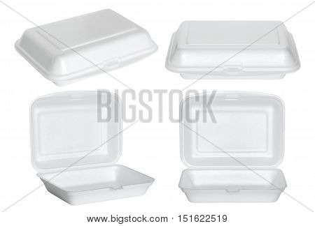 set of white styrofoam box isolated on white with clipping path