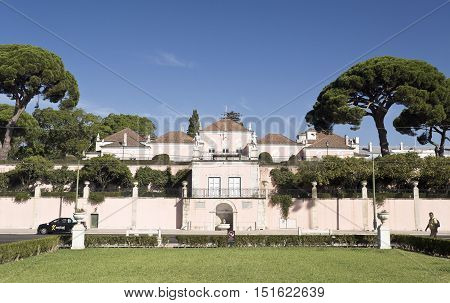 LISBON, PORTUGAL - October 5, 2016: View the Palace of Belem the official residence of the Portuguese President in Lisbon Portugal