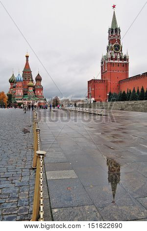 MOSCOW - OCTOBER 04, 2015: Saint Basils Cathedral on the Red Square in Moscow. UNESCO World Heritage Site.