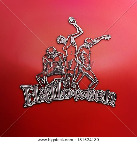 Zombie sticker. 3D illustration of zombies in different poses with Halloween text. Emblem isolated on the grey background. Zombie Red Party Poster. Banner. Nickel plated steel texture.
