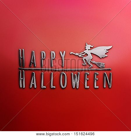 Happy Halloween lettering greeting card. Horizontal banner with a silhouette of a flying witch on a broom. Cartoon style. 3D illustration. Nickel plated steel texture. Red Halloween Background