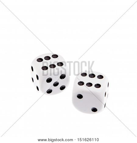 Two dice showing two sixes on white background.