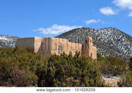 Adobe Church And Landscape