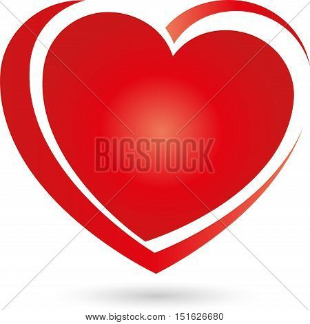 Heart in red logo, colored, heart in vector