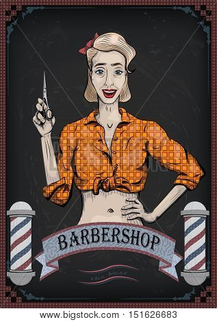 Female woman girl lady hairdresser barber with scissors shear beautiful worker people portrait. Vector nice retro vertical closeup front view frontal illustration sign signboard for barbershop